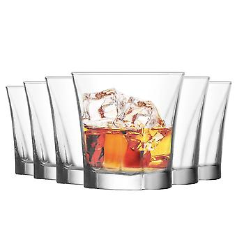 LAV Truva Whisky Glasses Set - Vintage Glass Bourbon Scotch Whiskey Tumblers - 280ml - Pack of 12