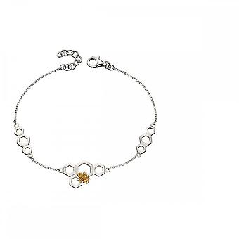 Elements Silver Honeycomb Bee Silver Yellow Gold Stationary Bracelet B5145