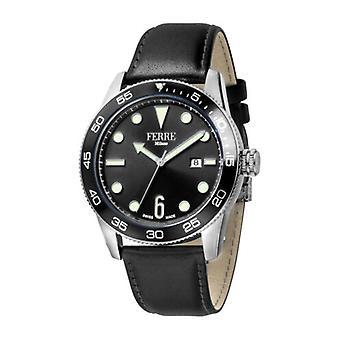 Ferre Milano Men's FM1G109L0021 Black Dial Black Leather Date Wristwatch