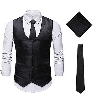YANGFAN Mens U-neck Formal Business Jacquard Suits Vests with Tie and Square Scarf