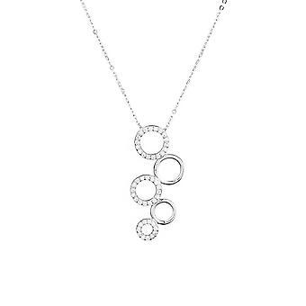 Collier argent et oxydes de zirconium 'Quintet de Cercles'