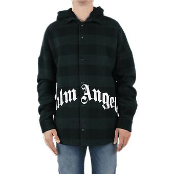Palm Angels Hoody Logo Overshirt  Forest G Green PMGA042E20FAB0015701 Top