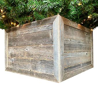 "23"" Square Natural Weathered Gray Christmas Tree Collar"