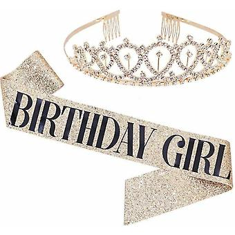 Birthday Girl Belt And Rhinestone Headwear Kit-birthday Gift Glitter Decoration Belt For Girls Birthday Party