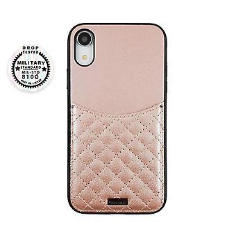 الوردي iPhone XR حالة مع حامل البطاقة