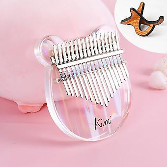Kimi Kalimba Acrylique Transparent Thumb Finger Piano With Tuner Hammer Stick,
