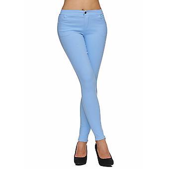 Ladies stoff strekk bukser mager Leggings Treggings Jeggings rør knappen SLIM Fit Biker