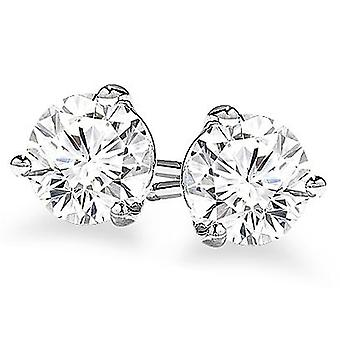 Boucles d'oreilles 14k Gold 3-Prong Round Cut Diamond Stud 2.00 ct. tw.