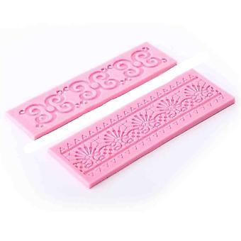 Lace 2pcs Silicone Mold Mould Sugar Craft Cake Fondant Cake Decorating  Baking Tool #580