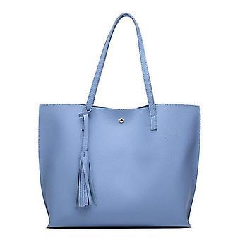 Umăr Tote Bag cu geantă de mână Tassel, moale din piele Găleată Casual Bag