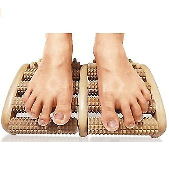 The Wooden Massager Double-foot Roller Massager Relaxes The Feet To Relieve Fatigue, Plantar Fasciitis, And Arch Pain.