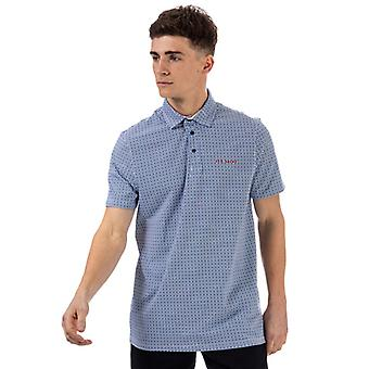 Men's Ted Baker Capp Mid Geo Printed Polo Shirt in Blue