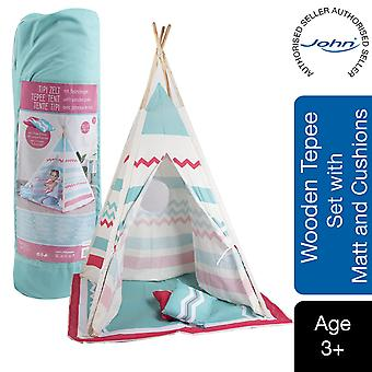 John Wooden Play Tepee Tent Natural Colours with Blanket and 2 Cushions