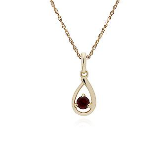 Klassieke Single Stone Round Garnet Tear Drop Hanghanger ketting in 9ct Yellow Gold 135P1551049
