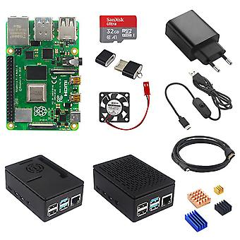 Pi 4 Model B 2GB/4GB Kit Board + Strømforsyning + Sag Box + 32/64GB SD-kort +