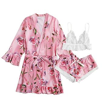 İç Çamaşırı Nokta Saten Pijama Setleri Uzun Kollu Sonbahar Pantolon Gecelik