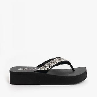 Skechers Vinyasa Happy Pearl Naisten Platform Flip Flops Musta
