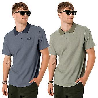 Jack Wolfskin Mens 2021 Pique Organic Cotton 2-Button Placket Polo Shirt