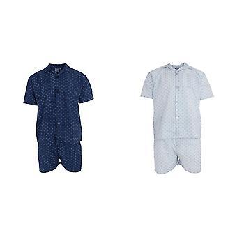 Harvey James Mens Woven Short Sleeve Pyjama Set