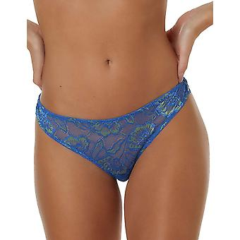 After Eden Anna 10.35.8166-438 Women's T.T. Blue Lime Floral Lace Thong