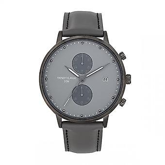 Trendy Classic horloge CC1046-03-duel chronograaf Bo tier staal grijs lederen armband grijs grijs Cadran grijs