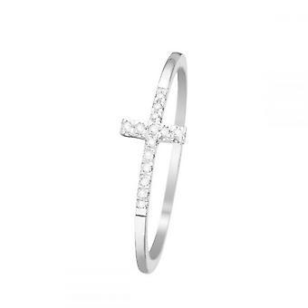 Anel 'Christiane' Ouro Branco e Diamantes