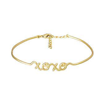 'apos;XOXO'apos; Pulseira rush em fio de letras de ouro com mensagem