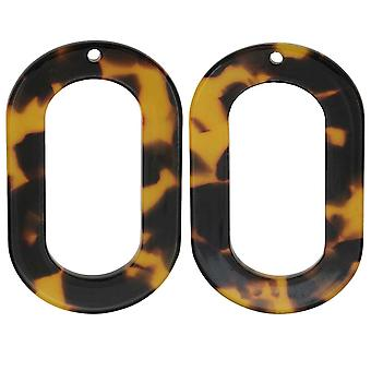 Final Sale - Zola Elements Acetate Pendant, Oval Donut 27x44mm, 2 Pieces, Brown Tortoise Shell