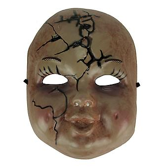 Bloody Cracked Baby Doll Face Adult Halloween Mask Costume Accessory