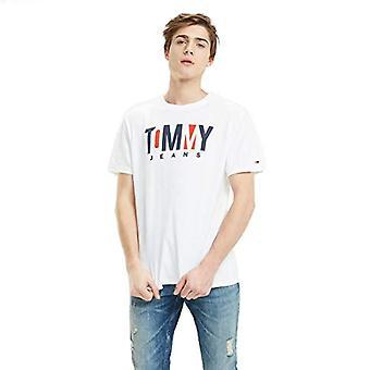 Tommy Hilfiger Tjm Contraste Logo Camiseta, Blanco (Classic White 100), Hombre Pequeño