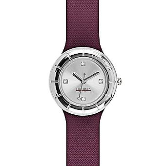 WOMEN'S HIP HOP WATCH METAL silver dial and silicone strap, red metal, TIME ONLY movement - 3H QUARTZ