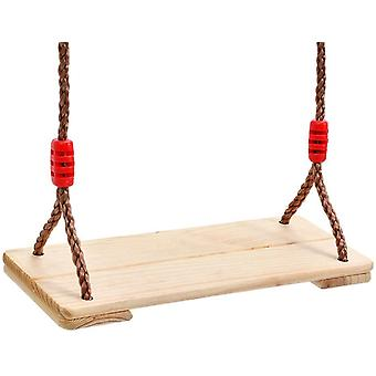 FengChun Wooden Swing Seat With Durable Adjustable Nylon Rope Garden Games Traditional Pine Wood