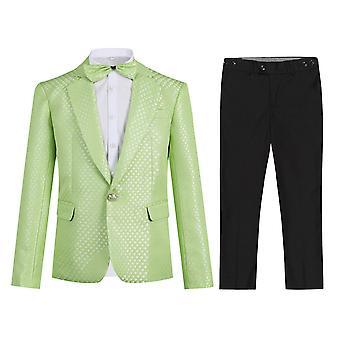 Allthemen Boyn energinen muodollinen pukeutumispuku vihreä puku (Blazer & Pants & Bow Tie)
