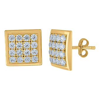 10k Yellow Gold Mens CZ Cubic Zirconia Simulated Diamond Square Stud Earrings Jewelry Gifts for Men