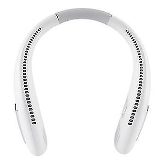 Portable Hands Free Neck Fan 48 Surround Air Outlets Usb Rechargeable(White)