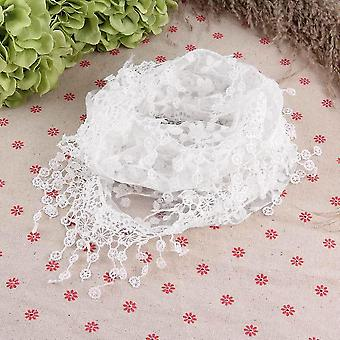 Vrouwen Lace Pure Floral Print Triangle Sjaal Sjaal Wrap Tassel