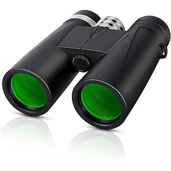 10x42 HD High Power -kiikarit aikuisille Kompakti vedenpitävä sumunkestävä BAK4 Prism FMC -objektiivin selkeä visio lintujen katseluun Tähtien katseluun Veneilyn urheilukonsertit,(musta)