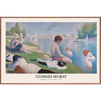 JUNIQE Print -  Seurat - Bathers at Asnières - Klassische Kunst Poster in Bunt & Cremeweiß