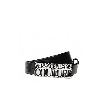 Versace Jeans Couture Silver Buckle Black Leather Belt