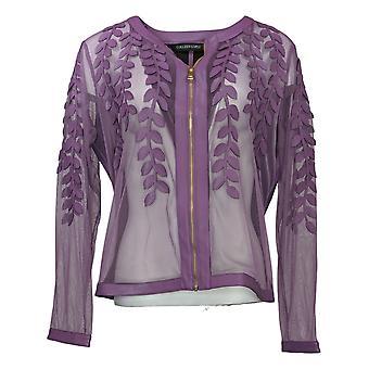 Colleen Lopez Women's Jacket Faux Leather Leaf & Stretch Mesh Purple 739847