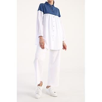 Color Block Ruffle Detailed Shirt