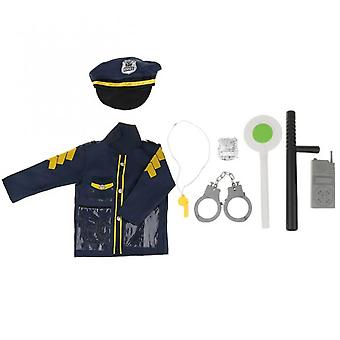 Children's Role-playing Imitation Game Costumes 9 Pieces/set Of Police Officer Costumes-children's Role-playing Toy Megaphone With Siren Sound, Unifie