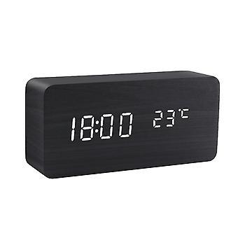 Led Alarm Clock Wooden Watch Table Voice Control Digital Wood Despertador Usb/aaa Powered Electronic Desktop Clocks