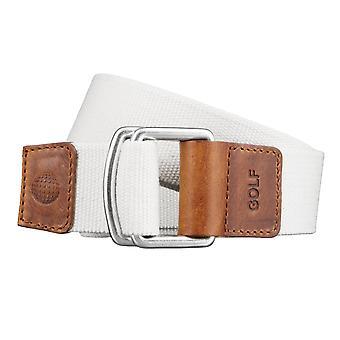 GOLF-Belts Gürtel Herrengürtel Textilgürtel mit Doppelring Uni Beige/Weiß 3496