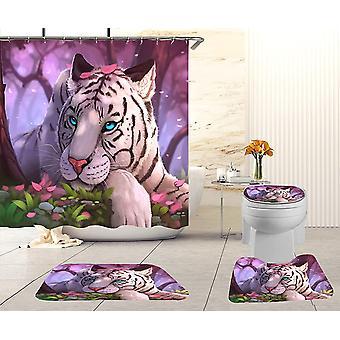 4pcs Bathroom Decor Set Bath Rug Tiger Pattern
