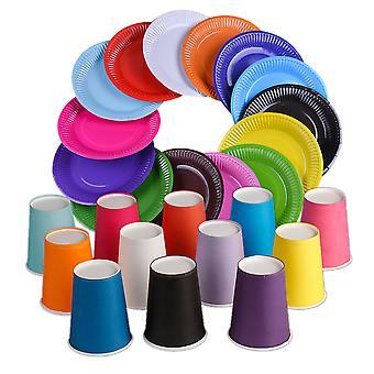 כוסות נייר חד פעמיות וצלחות 100 סט