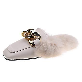 Dámske ploché toe Cap Semi-papuče Lazy Mules