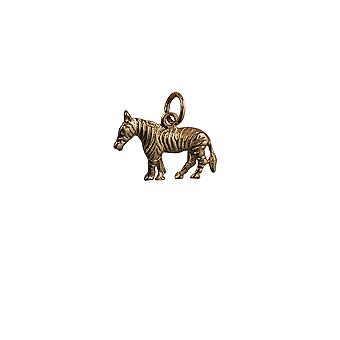 9ct Gold 20x10mm Zebra Pendant or Charm