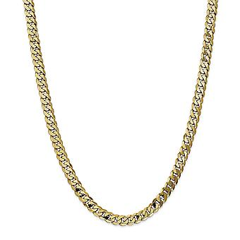 14k Yellow Gold Solid Polished Lobster Claw Closure 7.25mm Beveled Curb Chain Anklet 9 Inch Lobster Claw Jewelry Gifts f
