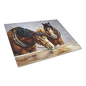 Horses Taking a Drink of Water Glass Cutting Board Large